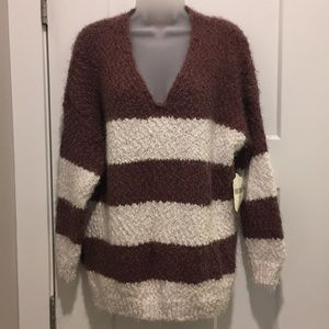 Sweater,Long Sleeve ,Plum/Carmel,Size-M/L,V-Neck